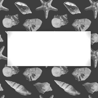 Zomervakantie, schelpen frame op naadloze eindeloze patroon