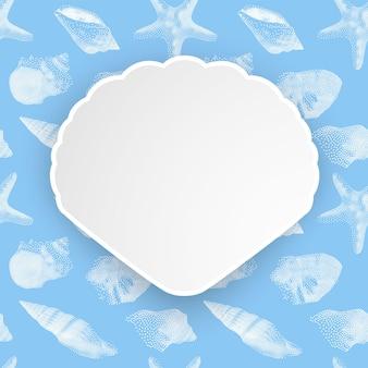 Zomervakantie, schelpen frame op naadloze patroon van witte schelpen