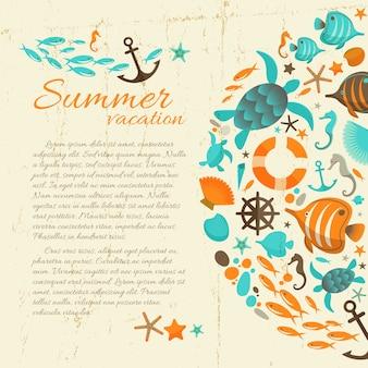 Zomervakantie tekst op grunge papier achtergrond met kleurrijke mariene illustraties