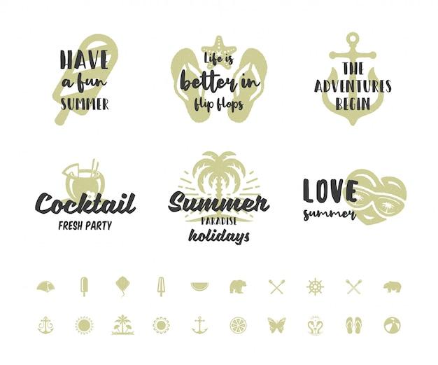 Zomervakantie typografie inspirerende citaten of gezegden ontwerpen