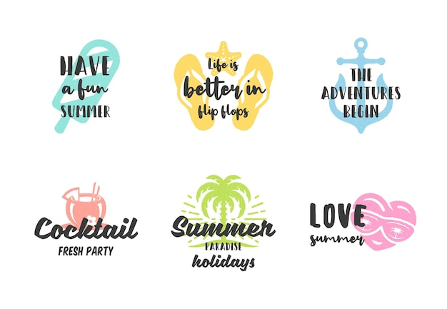 Zomervakantie typografie inspirerende citaten ontwerp voor posters of kleding set