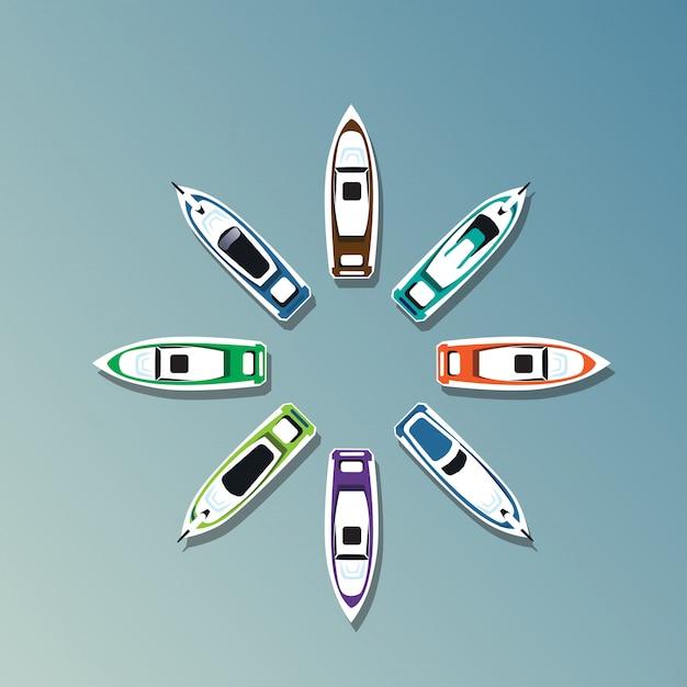 Zomervakantie yacht tropische vakantie banner instellen