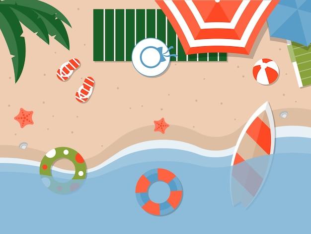 Zomervakantie, zomer strand illustratie