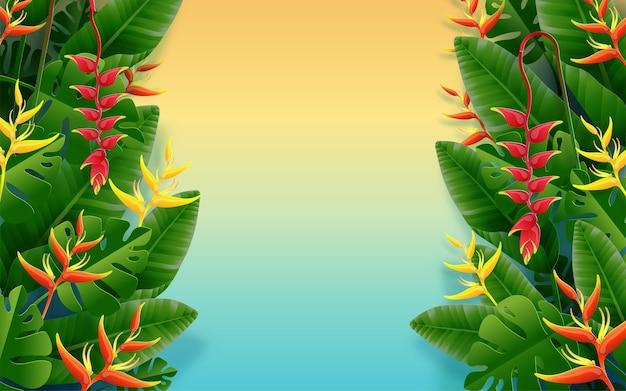 Zomervakantieontwerp met strandkleurige tropische bloemen