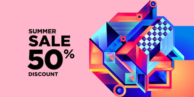 Zomerverkoop 50% korting kleurrijke abstracte geometrische banner