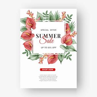 Zomerverkoop banner flyer met groen tropisch blad aquarel zomer verkoop banner flyer met groen tropisch blad en anthurium aquarel