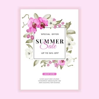 Zomerverkoop banner flyer met orchidee roze aquarel