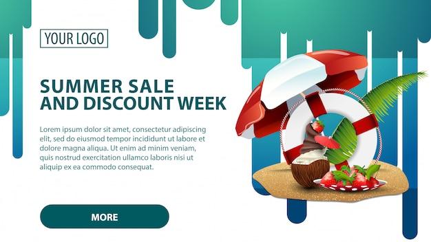 Zomerverkoop en kortingsweek, banner met kokosijs-ijscocktail