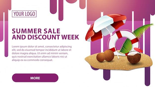 Zomerverkoop en kortingsweek, banner met kokosnootcocktail