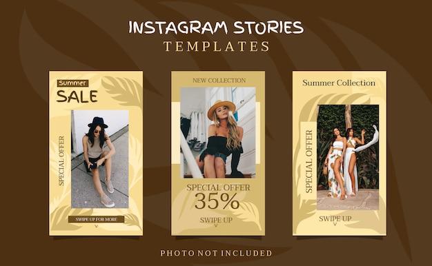 Zomerverkoop instagram verhalen bannersjablonen Premium Vector