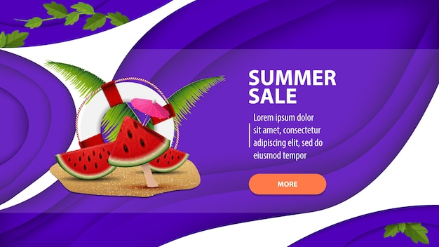 Zomerverkoop, moderne webbanner in papierstijl voor uw website