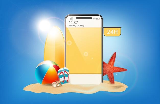 Zomerverkoop promotie-element winkelen, zomerpromo, vakantie op het strand