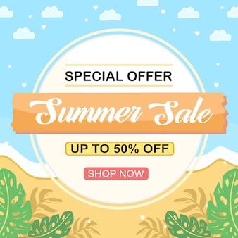 Zomerverkoop social media banner met strand en tropische plant