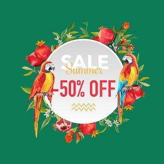 Zomerverkoop tropische bloemen en exotische papegaaien vogels banner, voor kortingsposter, modeverkoop, marktaanbieding