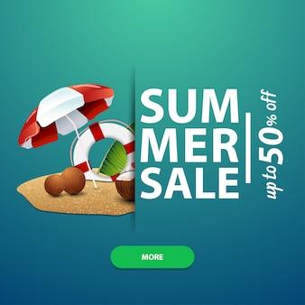 Zomerverkoop, vierkante banner voor uw website, advertenties en promoties