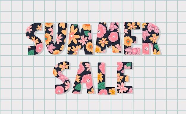 Zomerverkoopbanner met bloemenbrief