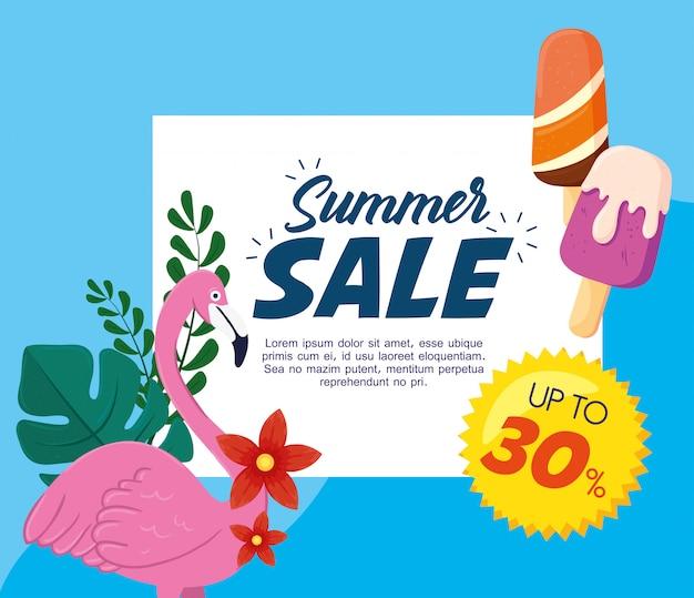 Zomerverkoopbanner, seizoenskortingsposter met vlaams en ijsjes, uitnodiging om te winkelen met tot dertig procent label, speciale aanbiedingskaart