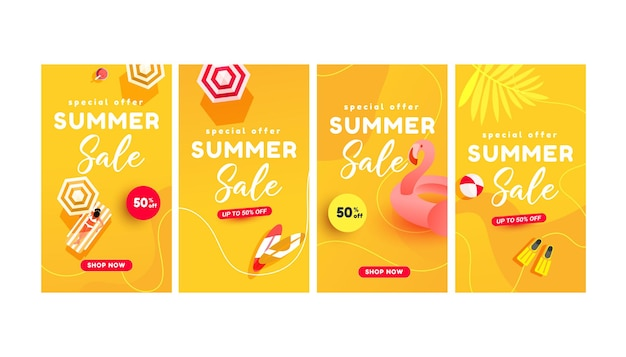 Zomerverkoopbanners voor sociale media verhalen verkoop webpagina mobiele telefoon online winkelen promotionele minimale trendy stijl