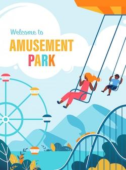 Zomervlieger gelukkige kinderen rijden op carrousel