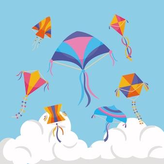 Zomervliegers met wolk aan de hemel