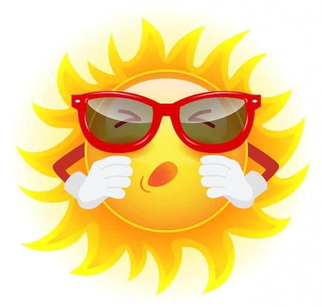 Zomerzon in zonnebril niezen. allergie, klimaat, ziekte, koud.