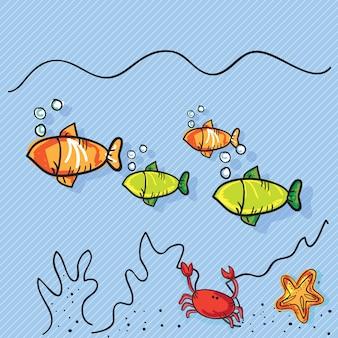 Zomerzon pictogrammen (koraal rif)