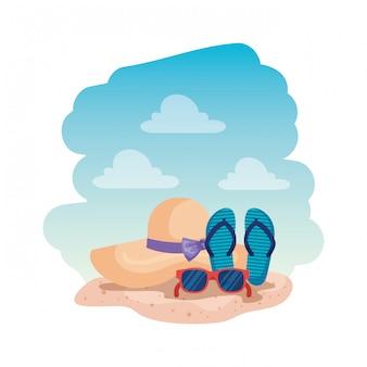 Zomerzonnebril met sandalen en dameshoed