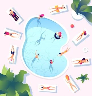 Zomerzwembad. mensen bij zwembad bovenaanzicht. personen zwemmen duiken ontspannen zonnebaden vrouwen mannen waterspelen strandfeest vakantie