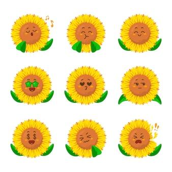 Zon bloem grappig pictogram cartoon karikatuur doen kreeg idee zingende muziek vrolijke vrolijke selfie eten ziek kreeg dollar Premium Vector