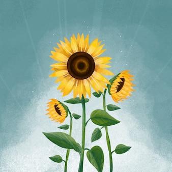Zon bloem illustratie