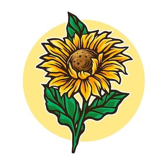 Zon bloemen illustratie
