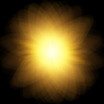 Zon burst explosie gele zon met stralen en gloed