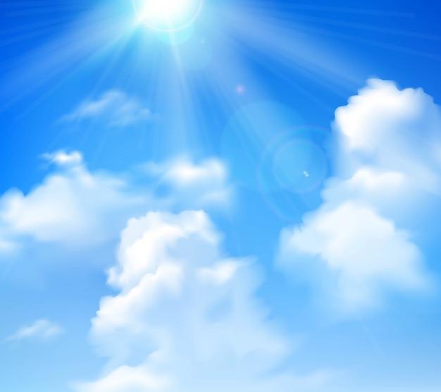 Zon die in blauwe hemel met witte wolken realistische achtergrond glanst