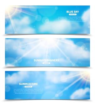 Zon door wolken hemel banners instellen