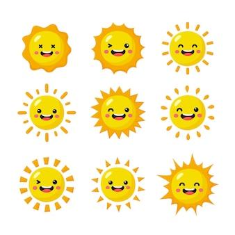 Zon emoji icon set geïsoleerd op een witte achtergrond