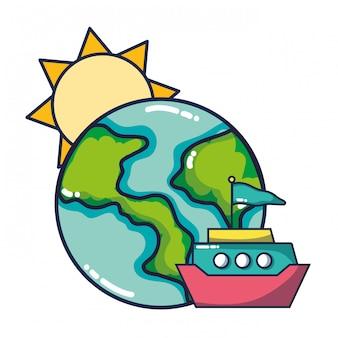 Zon en aarde cartoon
