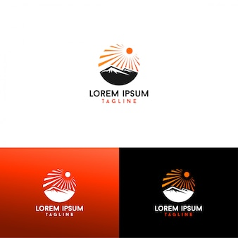 Zon en berg logo vector download