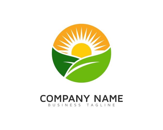 Zon en bladeren logo ontwerp