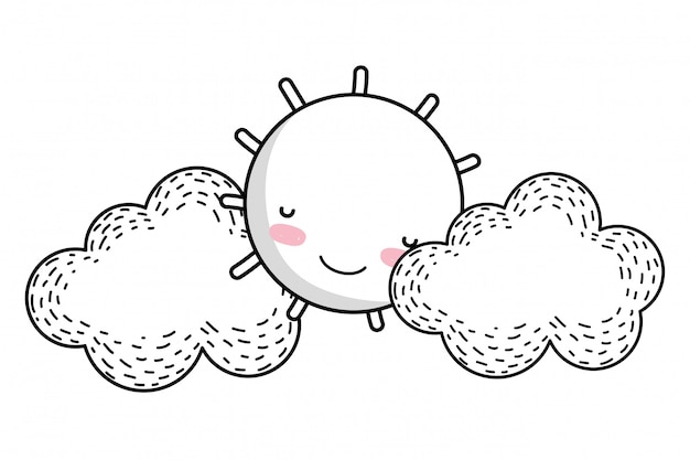 Zon en wolken tekenfilm