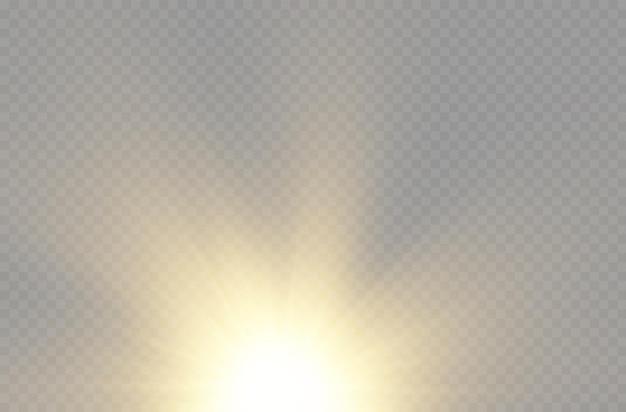Zon explosie gele gloed lichten zonnestralen flare speciaal effect magie schittert gouden ster