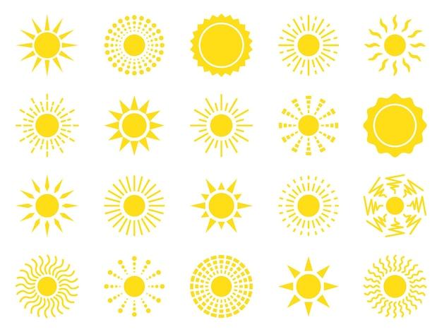 Zon icon set gele zon ster iconen collectie zomer zonlicht natuur hemel vector illustratie