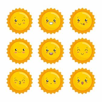 Zon kawaii cartoon zonne-energie
