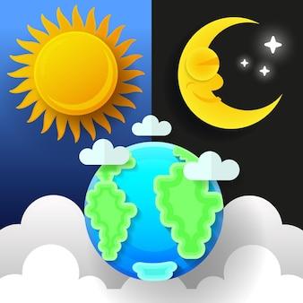 Zon, maan en sterren. dag en nacht vector banners geïsoleerd.