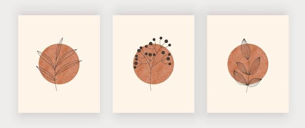 Zon met bladeren wall art print. boho design posters uit het midden van de eeuw