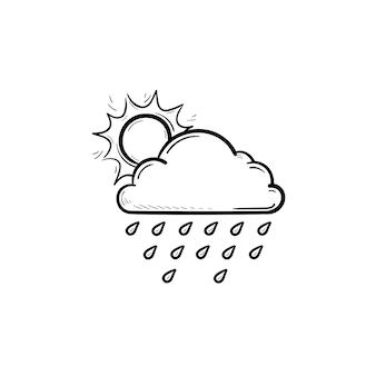 Zon met regenwolk en regendruppels hand getrokken schets doodle pictogram. regent en bewolkte hemel, weerconcept