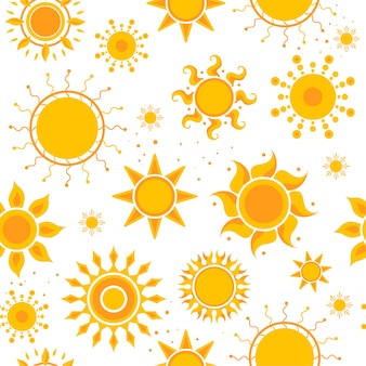 Zon naadloze patroon foto's. weer zomer zonneschijn foto's textielontwerp vector