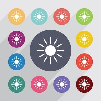 Zon, plat pictogrammen instellen. ronde kleurrijke knopen. vector