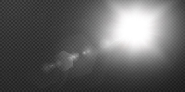 Zon schijnt heldere lichtstralen met realistische schittering