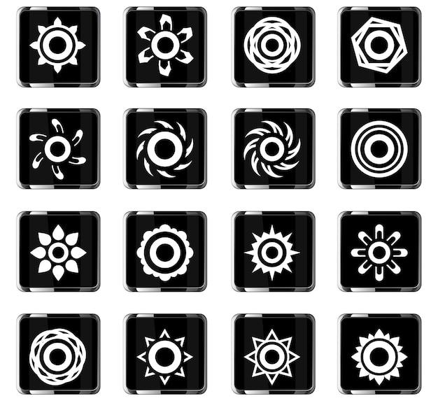 Zon vector iconen voor gebruikersinterface ontwerp