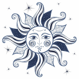 Zon. vintage-stijl. astrologie. boho stijl.